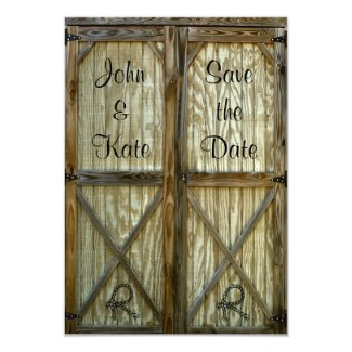 Barn Door Western Wedding Save the Date Card