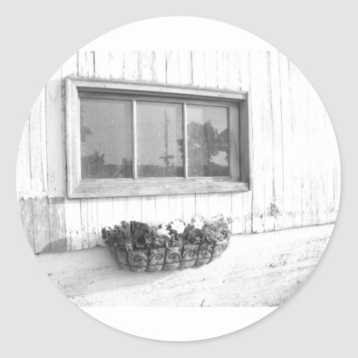 Barn Door Window in Black and White Photography Classic Round Sticker
