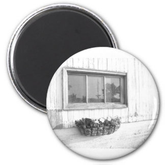 Barn Door Window in Black and White Photography Magnet