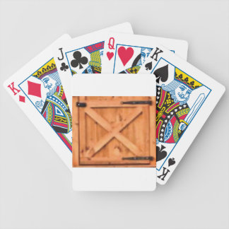 barn door wood bicycle playing cards