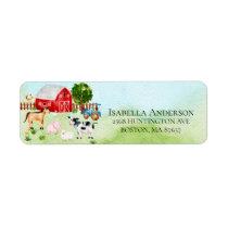 Barn Farm Animals Baby Shower Address Label