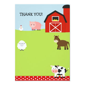 Barn Farm Barnyard Thank You Notes Card
