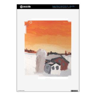 barn farm house sun sunset drawing eliana iPad 3 skin