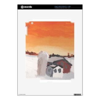 barn farm house sun sunset drawing eliana skin for the iPad 2