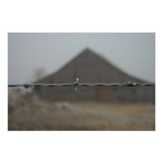 Barn frosted barbwire poster