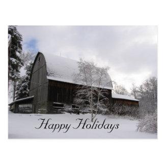 "Barn ""Happy Holidays"" postcard"