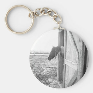 Barn Horse Black and White Photography Keychain