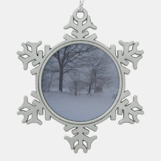 Barn in a Maine Blizzard Snowflake Pewter Christmas Ornament