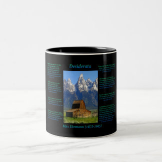 Barn in a valley below the snow peak mountains Two-Tone coffee mug
