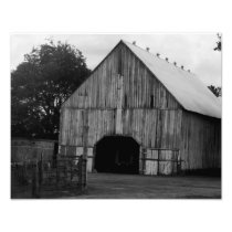Barn in black and white photo print