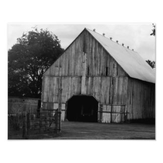 Barn in black and white photographic print