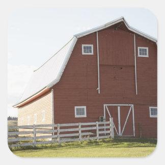 Barn in rural landscape square stickers