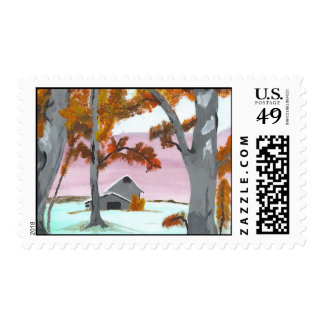 Barn in the Birch Forest Postage