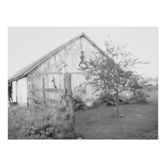 Barn in the Country/black and white photography Poster