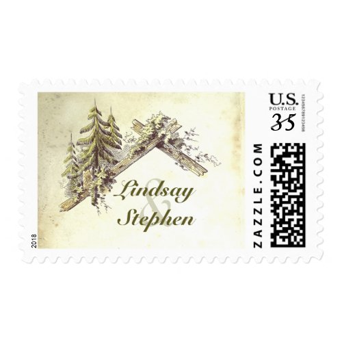 Woods Rustic Country Wedding Postage