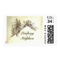 Barn in the Woods Rustic Country Wedding Postage