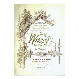 Barn in the Woods Rustic Wedding Invitations 5