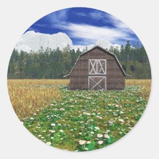 Barn in Wheat Field Round Sticker