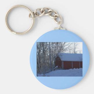 barn in winter keychain