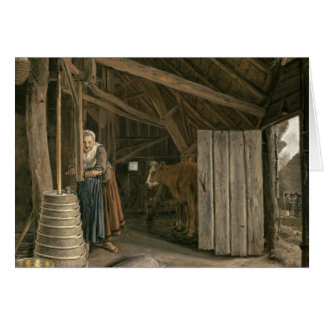 Barn Interior with a Maid Churning Butter Card