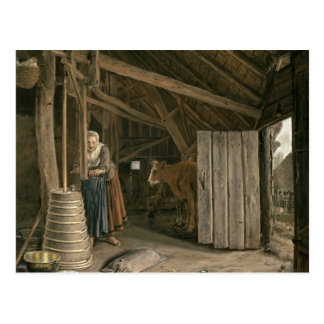 Barn Interior with a Maid Churning Butter Postcard