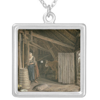 Barn Interior with a Maid Churning Butter Silver Plated Necklace