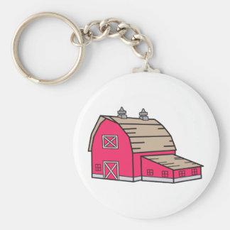 Barn Basic Round Button Keychain