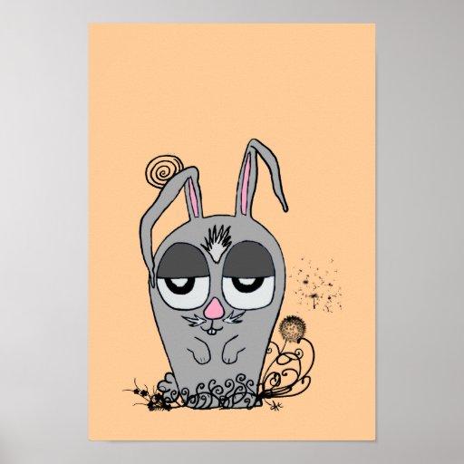 Barn Night Bunny Poster