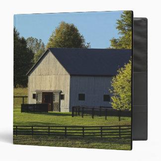 Barn on thoroughbred horse farm at sunrise, 3 ring binder