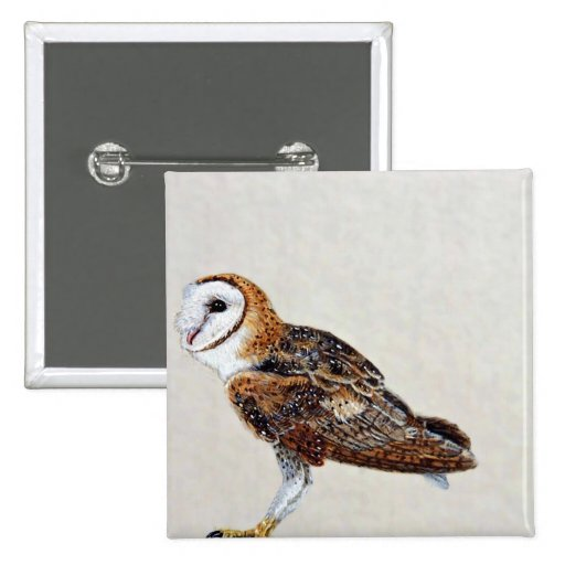 Barn owl 2 inch square button