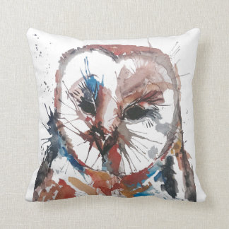 Barn Owl Abstract Throw Pillows