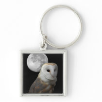 Barn Owl and Moon Square Keychain