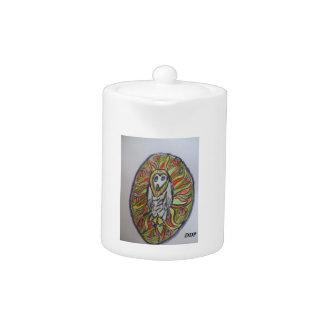 Barn owl art teapot