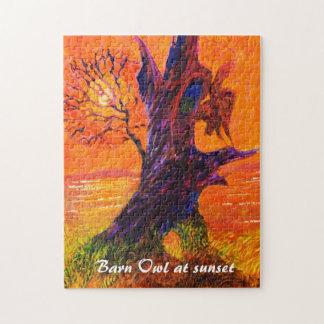 Barn Owl at sunset - Wild animal puzzle