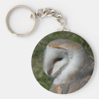 Barn owl basic round button keychain