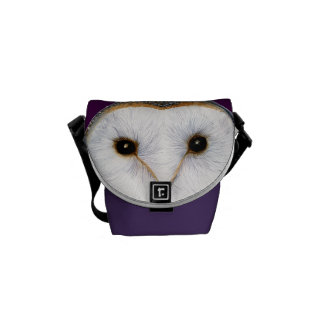 Barn Owl Bird Watercolor Painting Artwork Print Messenger Bag