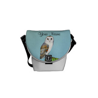 Barn Owl Bird Watercolor Painting Wildlife Artwork Messenger Bag