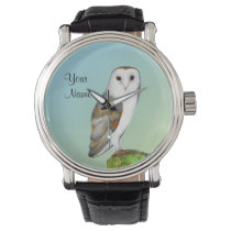 Barn Owl Bird Watercolor Painting Wildlife Artwork Wrist Watch