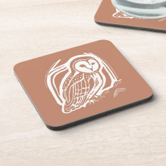 Barn Owl Brown and White Coasters