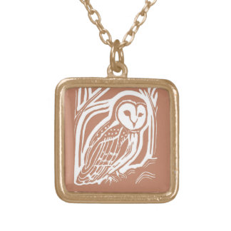 Barn Owl Brown and White Necklace