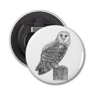 Barn Owl Button Bottle Opener