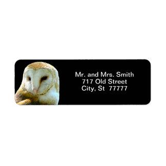 Barn Owl Close Profile Label