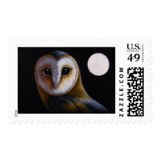 BARN OWL CLOSE UP & FULL MOON POSTAGE