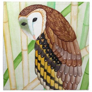 Barn owl cloth napkin