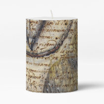 Barn Owl Collage Pillar Candle