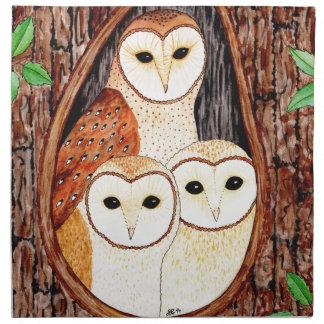 Barn Owl Family Napkin