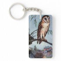 Barn Owl, Farmhouse and Barn Keychain