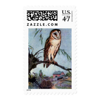 Barn Owl, Farmhouse and Barn Postage Stamp