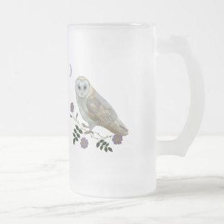 Barn Owl Frosted Glass Beer Mug