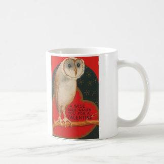 Barn Owl Heart Tree Stars Valentine Coffee Mug